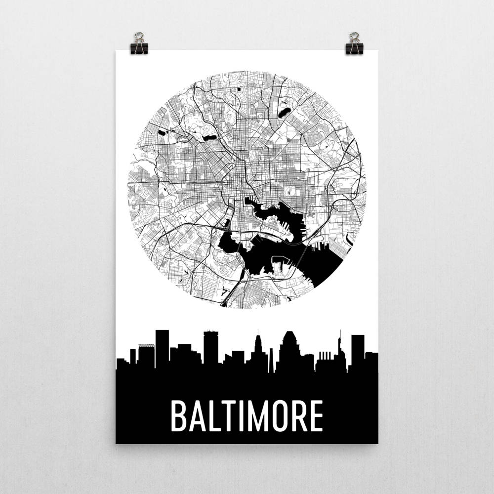 Baltimore Skyline Silhouette Art Prints Modern Map Art