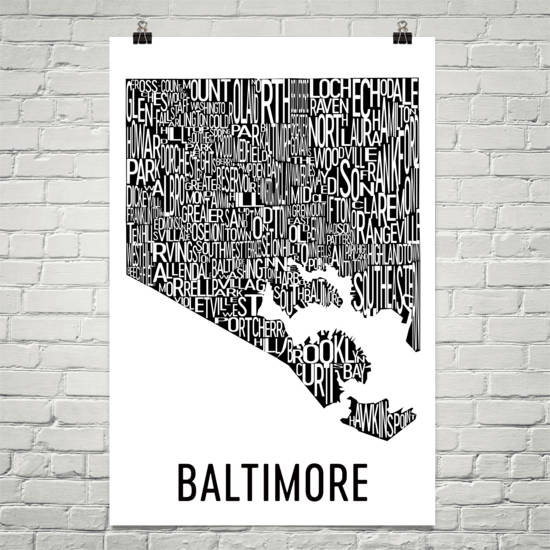 Baltimore Neighborhood Typography Prints – Modern Map Art