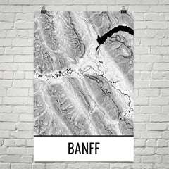 Banff National Park Topographic Map Art