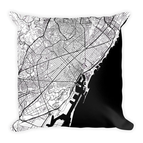 Barcelona Map Pillow – Modern Map Art