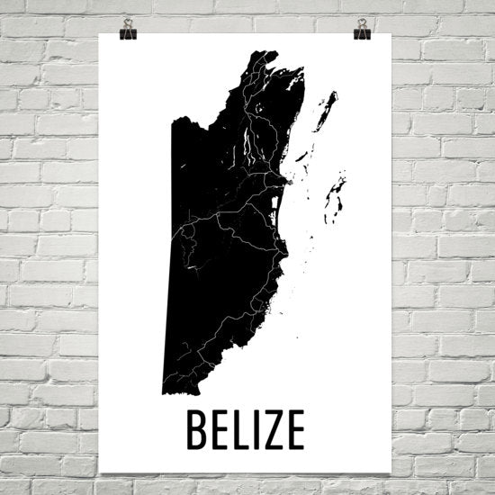 Belize Wall Map Print - Modern Map Art