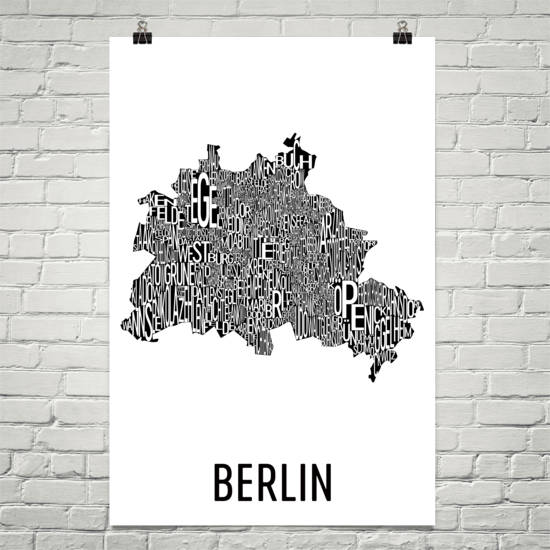 Berlin Neighborhood Typography Prints – Modern Map Art