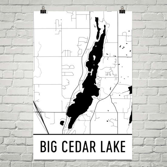 Big Cedar Lake WI Art and Maps