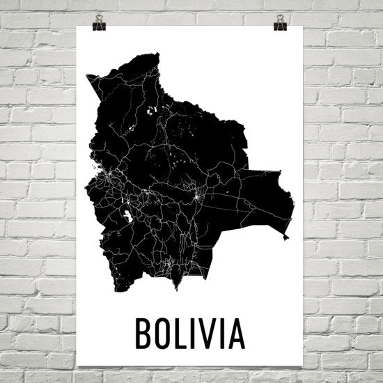 Bolivia Wall Map Print - Modern Map Art