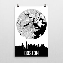 Boston Skyline Silhouette Art Prints