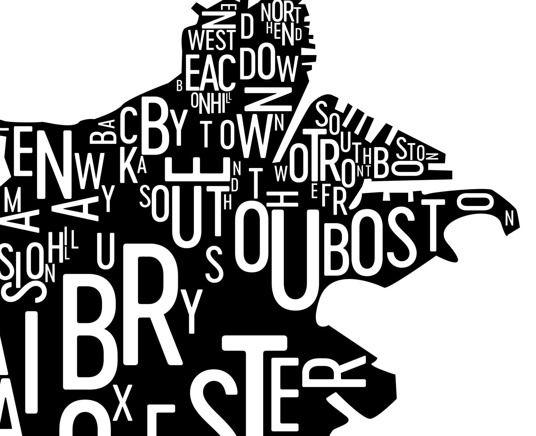 Boston Neighborhood Typography Prints Modern Map Art