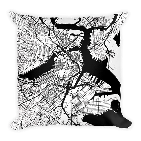 Boston Map Pillow – Modern Map Art