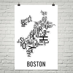 Boston Neighborhood Typography Prints – Modern Map Art