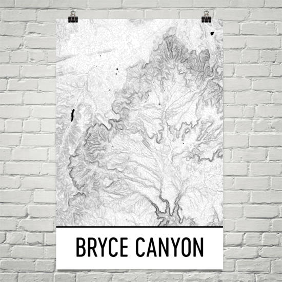 Bryce Canyon National Park Topographic Map Art – Modern Map Art