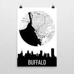 Buffalo Skyline Silhouette Art Prints