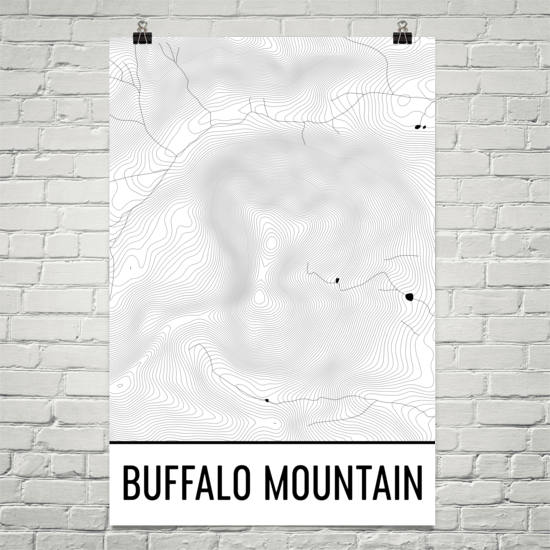 Buffalo Mountain Topographic Map Art