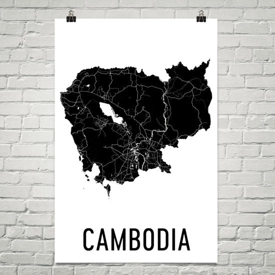 Cambodia Wall Map Print - Modern Map Art