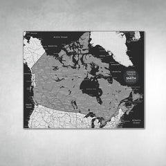 Canada Push Pin Map - Black and Grey - With 1,000 Pins!