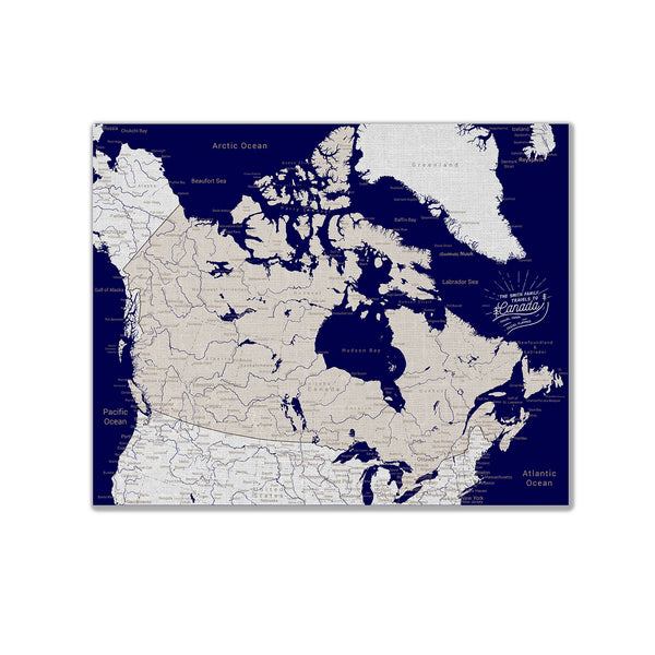 Canada Push Pin Map - Navy blue - With 1,000 Pins!