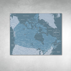 Canada Push Pin Map - Blue - With 1,000 Pins!