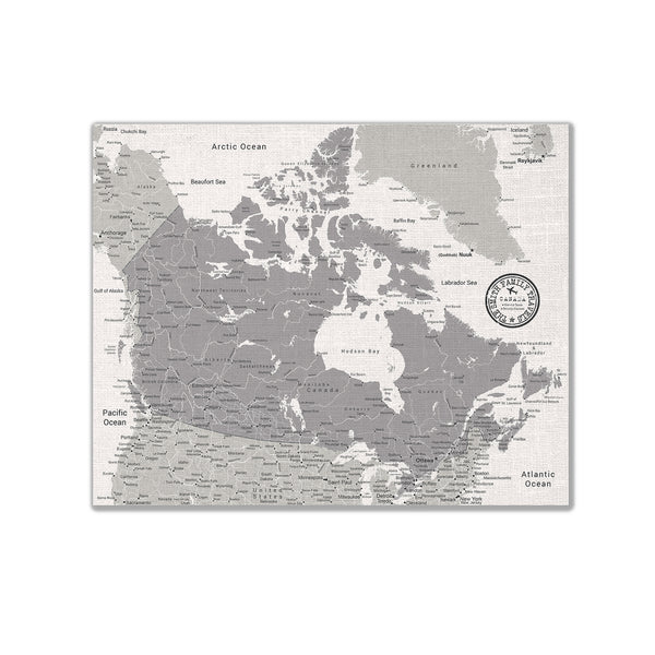 Canada Push Pin Map - White - With 1,000 Pins!