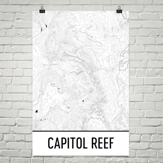 Capitol Reef National Park Topographic Map Art