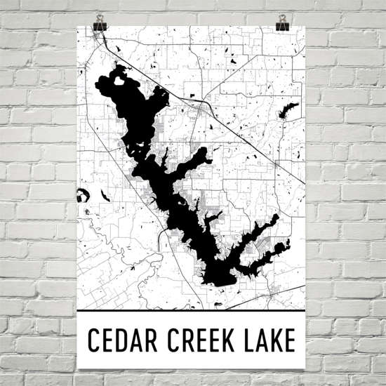 Cedar Creek Lake TX Art and Maps
