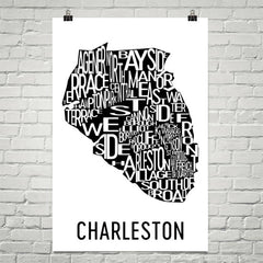 Charleston Neighborhood Typography Prints – Modern Map Art