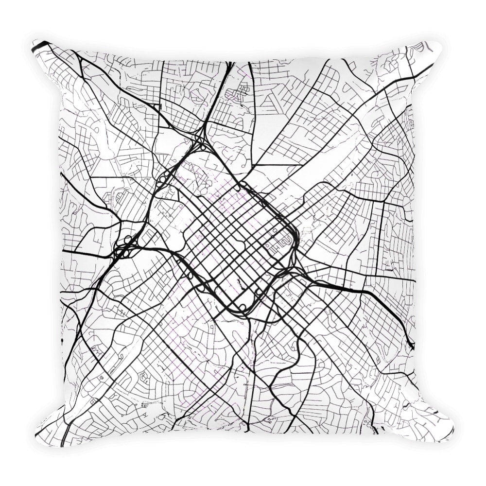 Charlotte Map Pillow – Modern Map Art