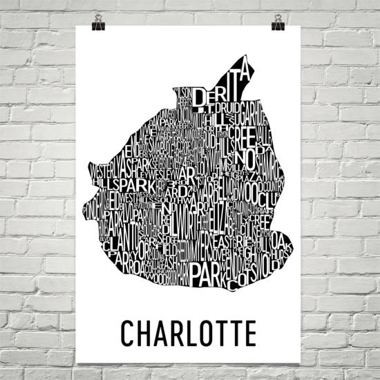 Charlotte Neighborhood Typography Prints – Modern Map Art