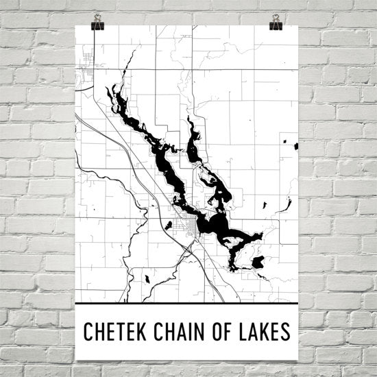 Chetek Chain of Lakes WI Art and Maps