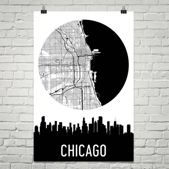 Chicago Skyline Silhouette Art Prints