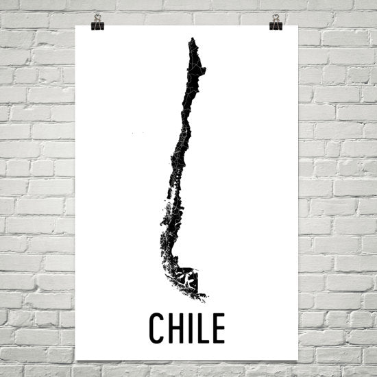 Chile Wall Map Print - Modern Map Art