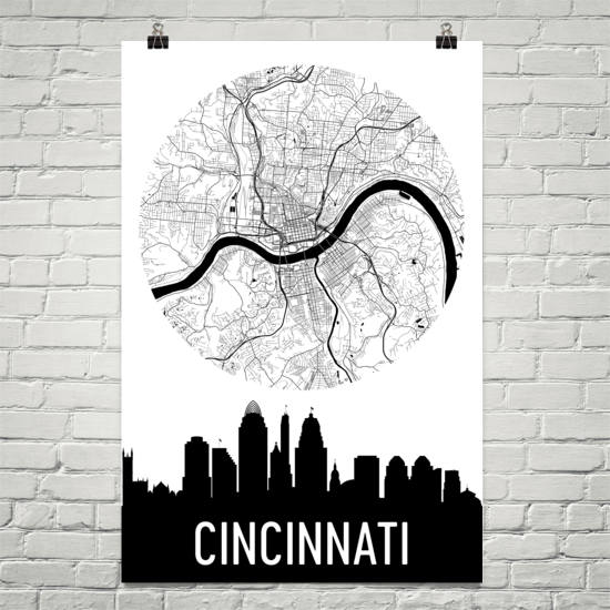 Cincinnati Skyline Silhouette Art Prints