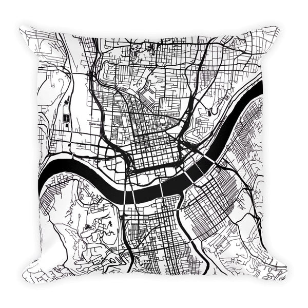 Cincinnati Map Pillow – Modern Map Art