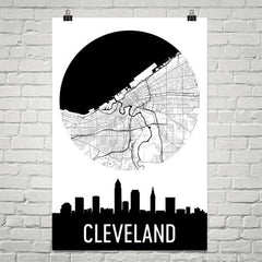 Cleveland Skyline Silhouette Art Prints