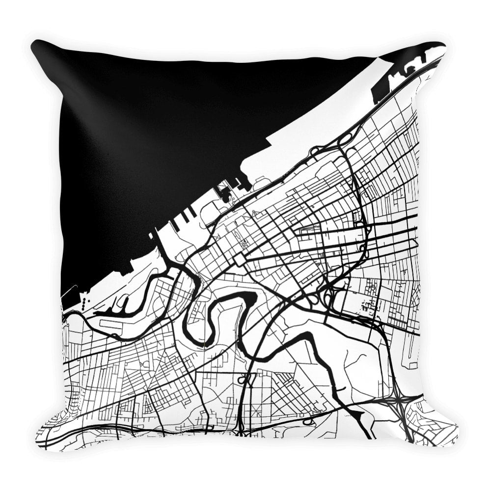 Cleveland Map Pillow – Modern Map Art