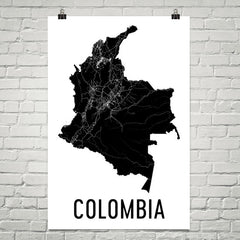 Colombia Wall Map Print - Modern Map Art