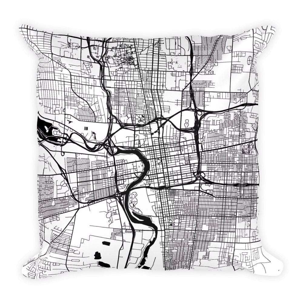Columbus Map Pillow – Modern Map Art