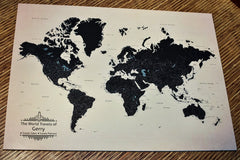Personalized World Travel Map With 1,000 Pins - Tan Gift For Traveler