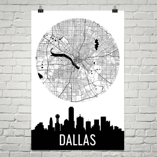 Dallas Skyline Silhouette Art Prints