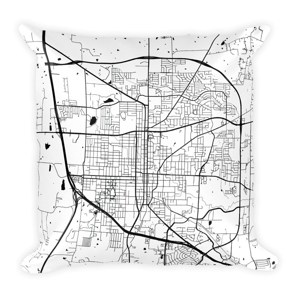 Denton Map Pillow – Modern Map Art