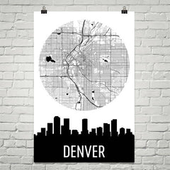 Denver Skyline Silhouette Art Prints