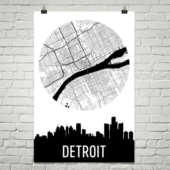 Detroit Skyline Silhouette Art Prints