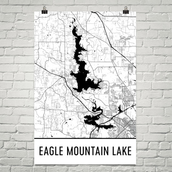 Eagle Mountain Lake TX Art and Maps