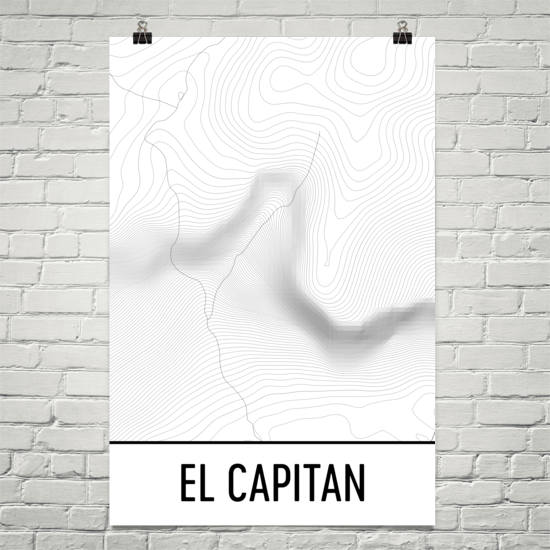 El Capitan Topographic Map Art