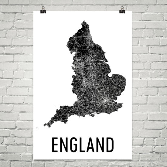 England Wall Map Print - Modern Map Art