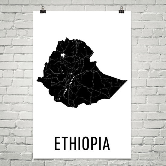 Ethiopia Wall Map Print - Modern Map Art