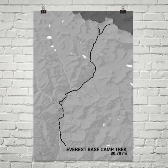 Everest Base Camp Trail Map Art Prints