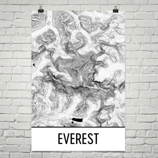 Everest Topographic Map Art