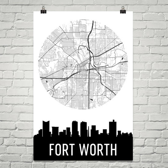 Fort Worth Skyline Silhouette Art Prints