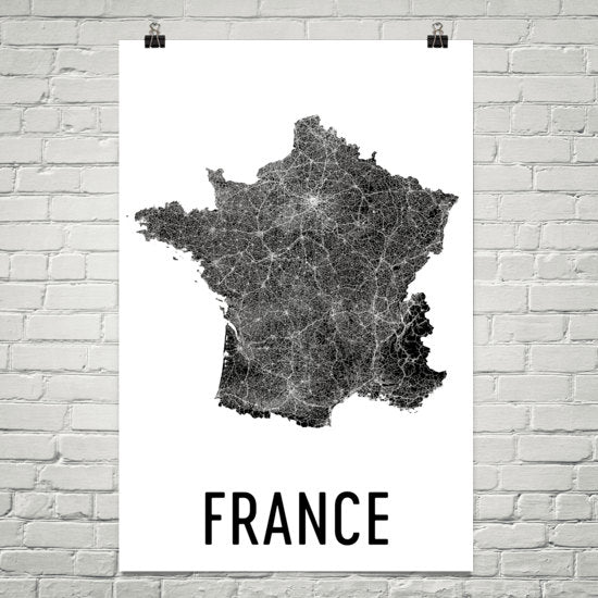 France Wall Map Print - Modern Map Art