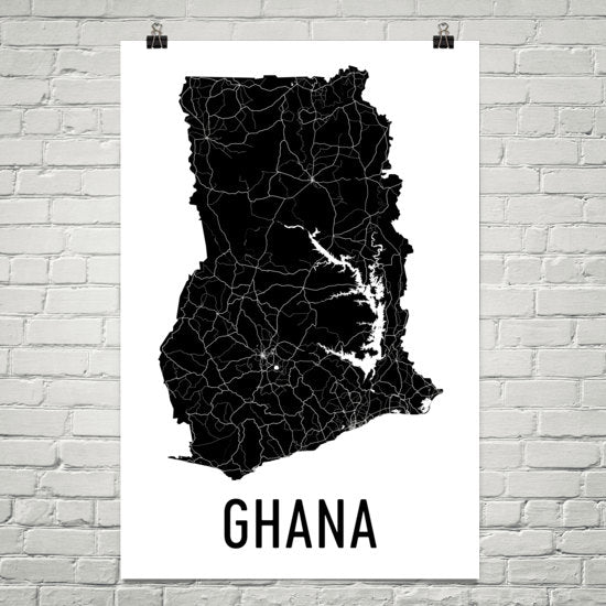 Ghana Wall Map Print - Modern Map Art