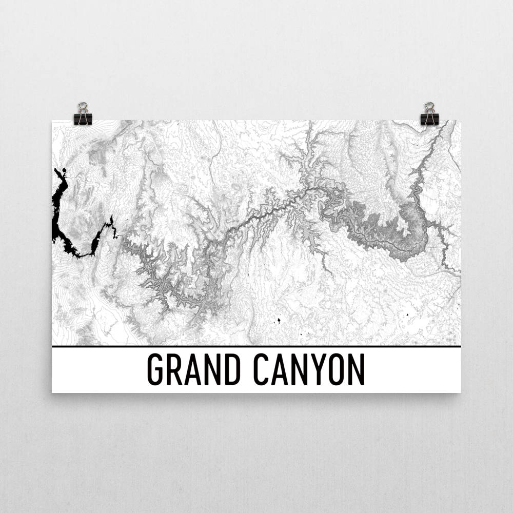 Topographic Map Grand Canyon.Grand Canyon Topographic Map Art Modern Map Art