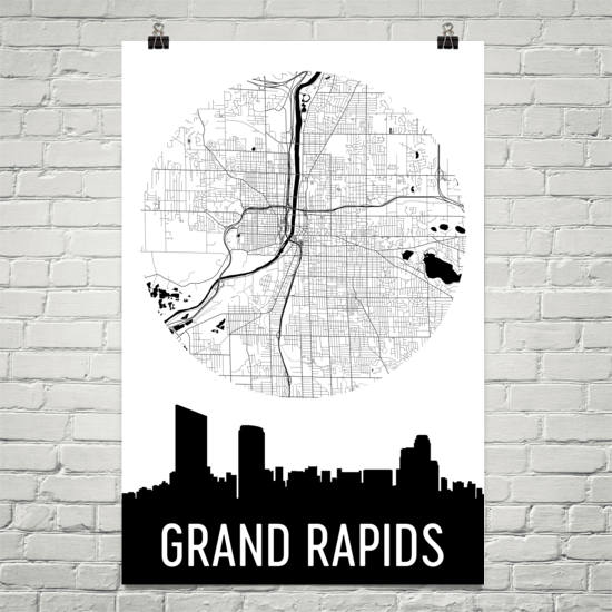 Grand Rapids Skyline Silhouette Art Prints